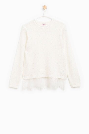 Mohair blend pullover with lace, Ivory White, hi-res