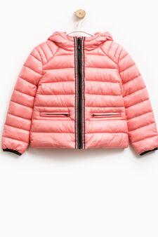 Down jacket with zip and diamantés, Salmon, hi-res