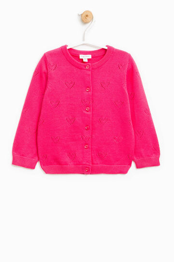 Knitted cardigan with hearts openwork, Fuchsia, hi-res