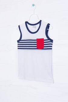 100% cotton vest top with pocket, Cream White, hi-res