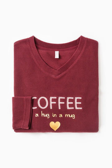 Fleece pyjama top with printed lettering., Claret Red, hi-res