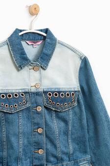 Denim jacket with eyelets, Denim, hi-res