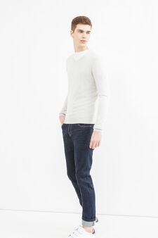 Solid colour V-neck pullover, Light Grey, hi-res