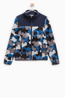 Fleece sweatshirt with camouflage pattern, Blue, hi-res
