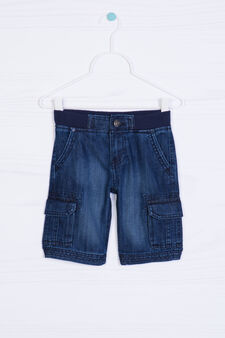 Worn-effect denim shorts, Denim, hi-res