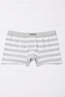 Stretch striped cotton boxers, White/Grey, hi-res