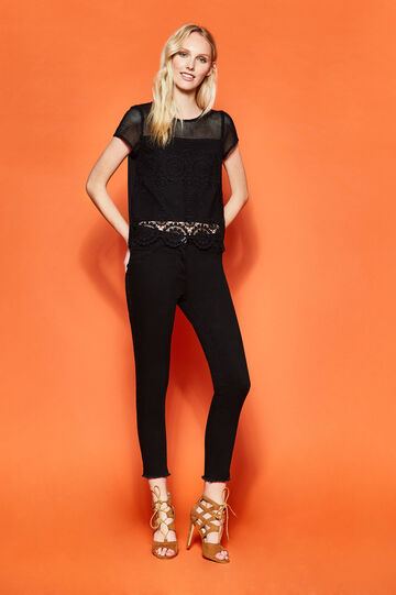 Openwork T-shirt with lace