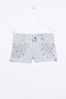 Stretch cotton shorts with diamanté trim, Light Blue, hi-res