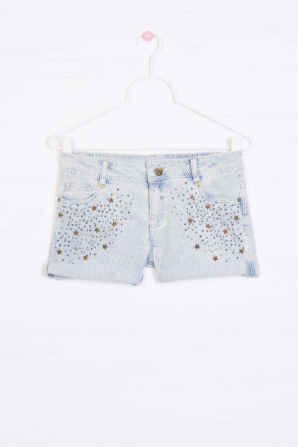 Shorts cotone stretch con strass | OVS