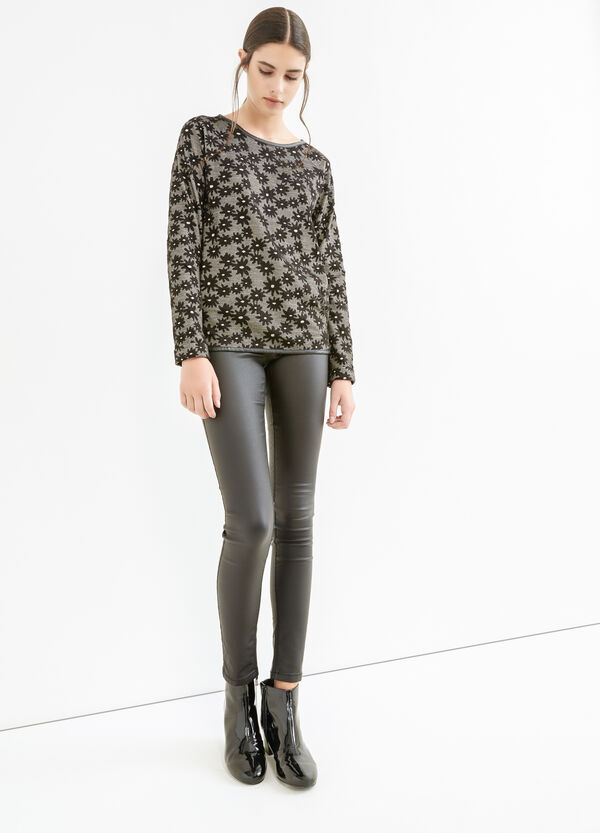 Sweatshirt with leather look piping | OVS