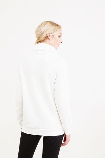 Felpa pelliccetta collo alto e coulisse, Bianco, hi-res