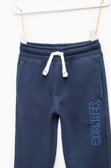 Pantaloni tuta stampa lettering, Blu, hi-res