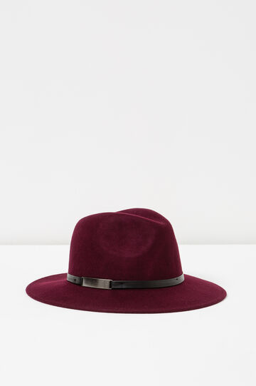 Wide-brimmed hat with strap, Claret Red, hi-res