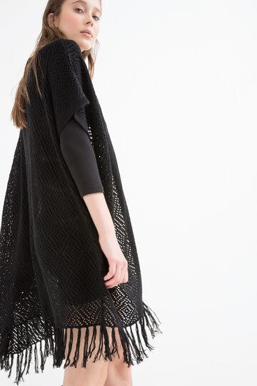 Long cardigan with fringe, Black, hi-res