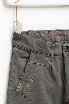 Solid colour stretch cotton trousers, Grey, hi-res