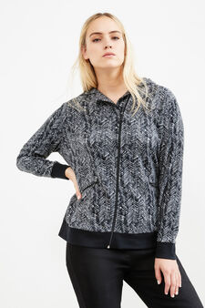Curvy fleece gym hoodie with pattern, Black/White, hi-res