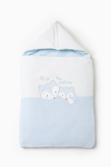 Baby sleep sack in cotton with hood, Light Blue, hi-res