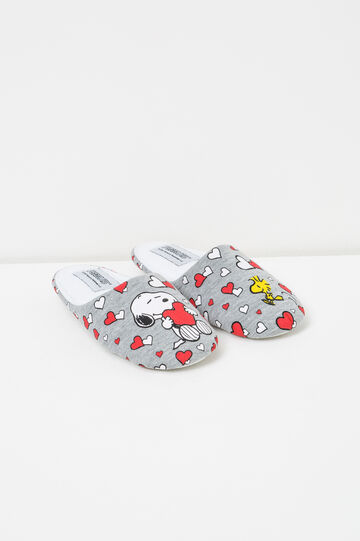 Canvas slippers with Snoopy pattern, Grey Marl, hi-res