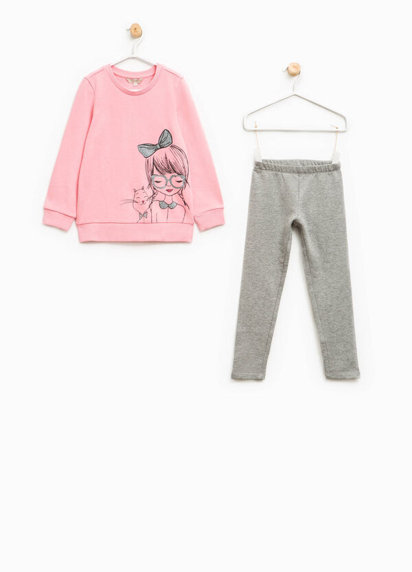 Cotton tracksuit with glitter print | OVS