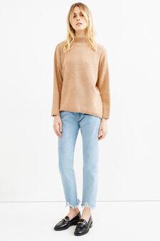 High-neck stretch pullover in wool, Peach Orange, hi-res