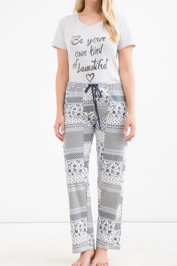 Curvy pyjama trousers with drawstring, White, hi-res