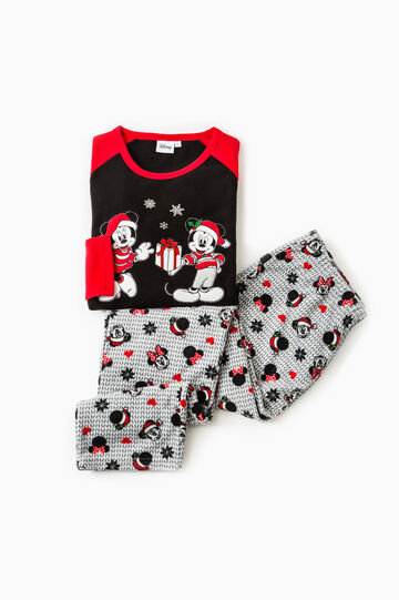 Fleece pyjamas with Mickey and Minnie Mouse, Black/Red, hi-res