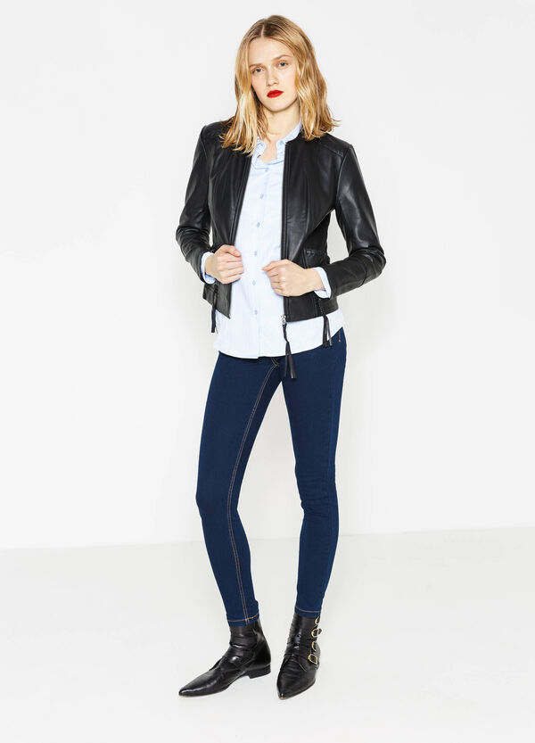 Leather-look jacket with tassels | OVS