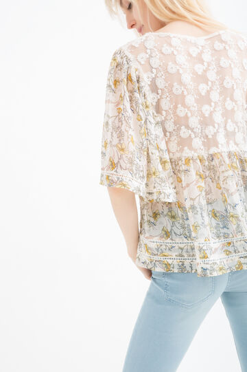Printed blouse with embroidered inserts, Cream White, hi-res