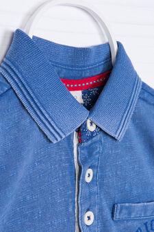 Polo puro cotone con stampa, Blu chiaro, hi-res