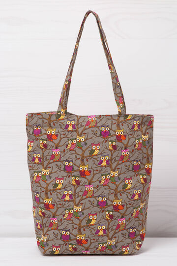 Patterned shopping bag, Grey, hi-res