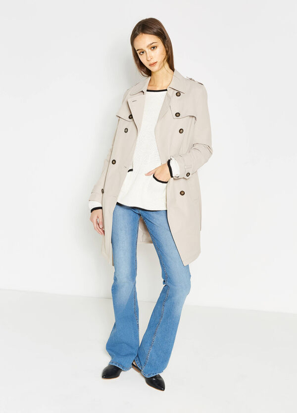 Trench coat with asymmetric fastening and belt | OVS