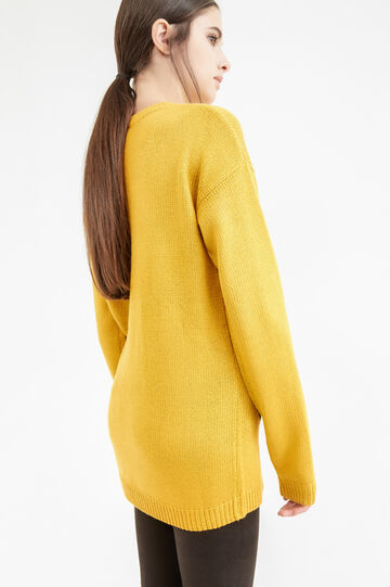 Knit pullover with embroidered cat, Ochre Yellow, hi-res