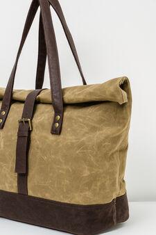 Cotton shoulder bag with buckle, Beige, hi-res