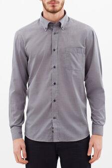 Regular fit shirt check shirt, Grey, hi-res