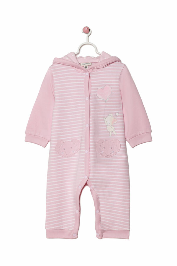 Striped, 100% cotton onesie with feet | OVS