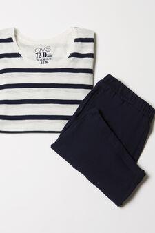Striped pattern pyjamas in 100% cotton, Blue, hi-res