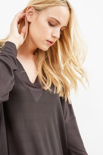 Curvy V-neck T-shirt in 100% viscose, Dark Grey, hi-res