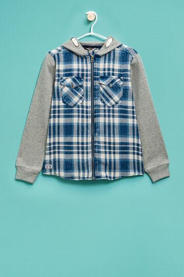 Tartan pattern sweatshirt in 100% cotton, Blue/Grey, hi-res