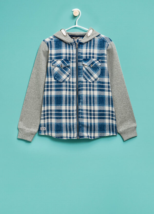 Tartan pattern sweatshirt in 100% cotton | OVS