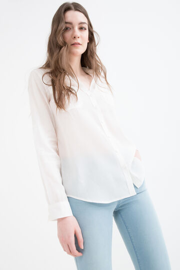 Cotton blend shirt with pockets, White, hi-res