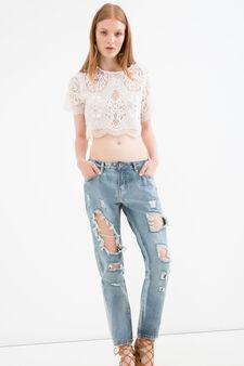 Ripped girlfriend jeans, Medium Wash, hi-res