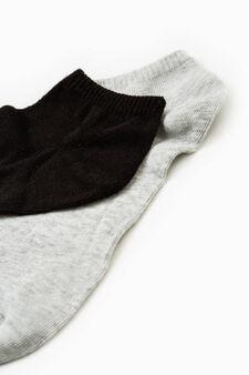 Five-pair pack solid colour socks, Black/Grey, hi-res