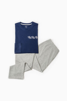 Solid colour pyjamas with lettering, Blue/Grey, hi-res