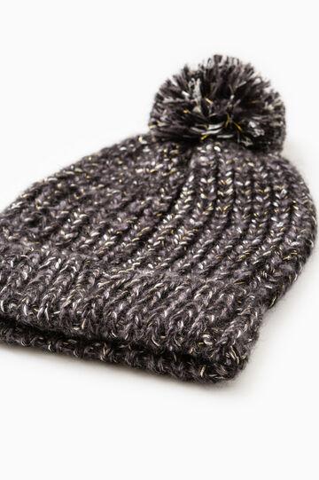 Knit beanie cap with pompom, Black, hi-res