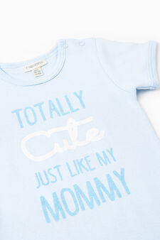 Three-pack lettering print bodysuits in cotton, White/Light Blue, hi-res