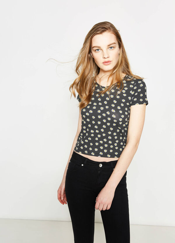 Patterned cotton crop T-shirt | OVS