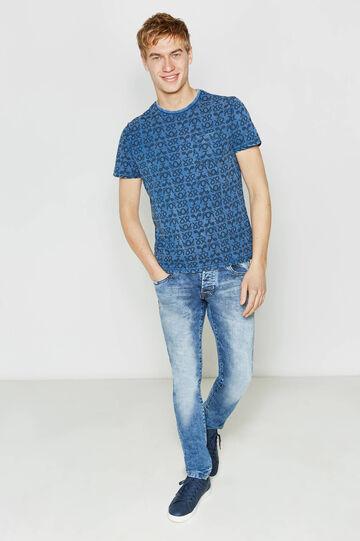 T-shirt in cotone fantasia con taschino, Blu/Azzurro, hi-res