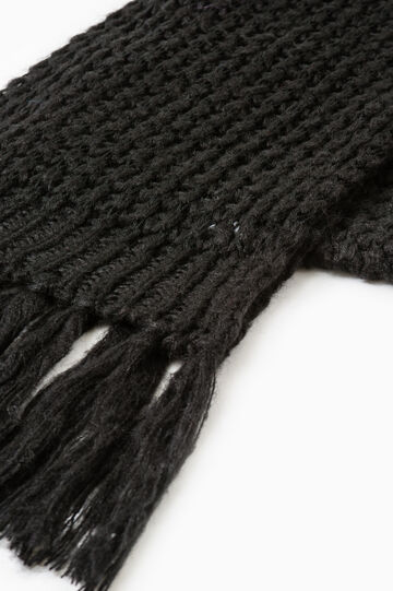 Solid colour knitted scarf with fringe, Black, hi-res