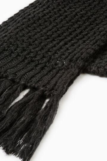 Sciarpa tricot tinta unita con frange, Nero, hi-res
