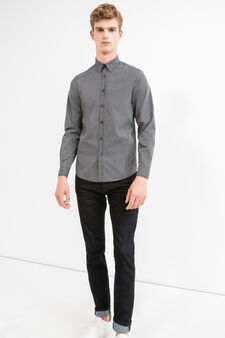 Slim-fit micro-check casual shirt, White/Black, hi-res